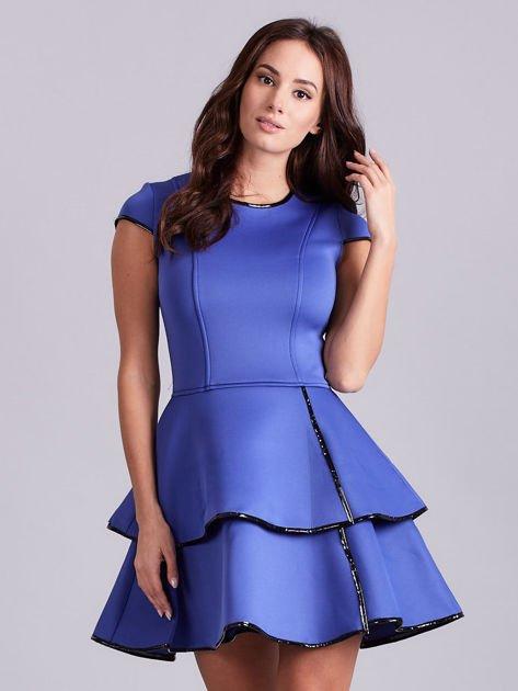 Chabrowa rozkloszowana sukienka                               zdj.                              1