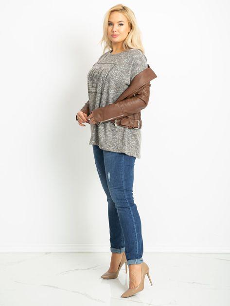 Ciemnobeżowa bluzka plus size Bertha                              zdj.                              4