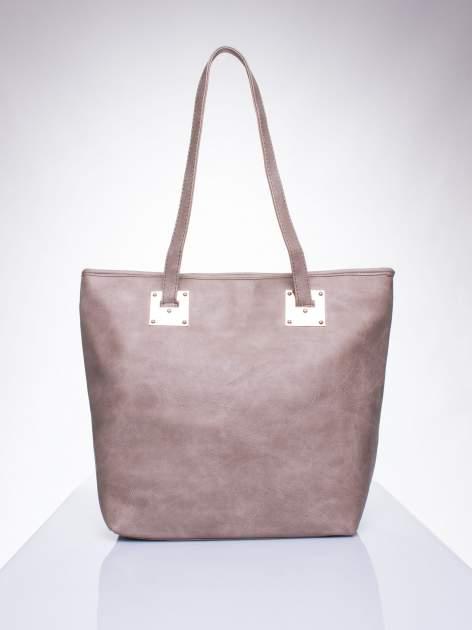 Ciemnobeżowa prosta torba shopper bag ze złotymi okuciami                                  zdj.                                  1