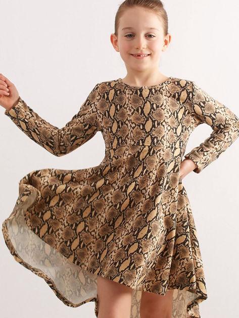 Ciemnobeżowa sukienka dziecięca w wężowy wzór