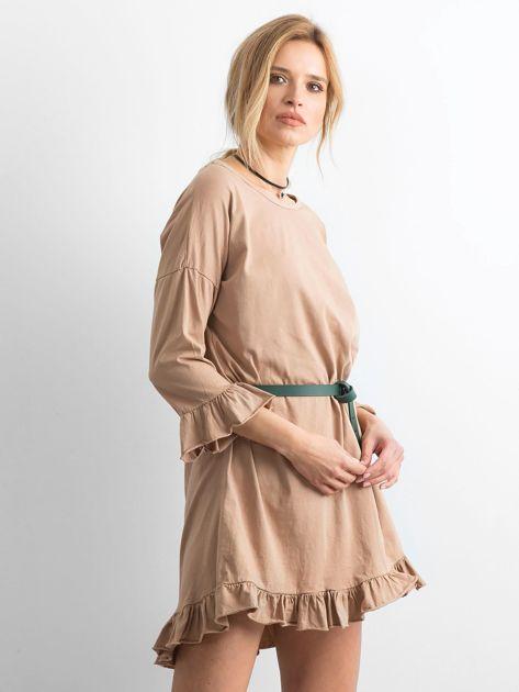 Ciemnobeżowa sukienka z falbanami                              zdj.                              3