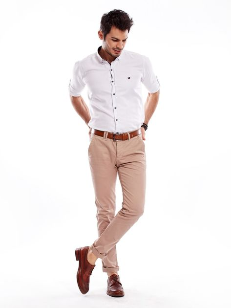 Ciemnobeżowe bawełniane spodnie męskie chinosy                                   zdj.                                  12