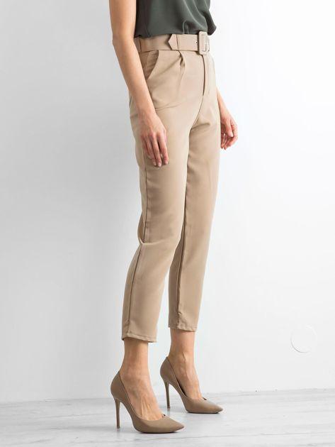 Ciemnobeżowe spodnie high waist                              zdj.                              1
