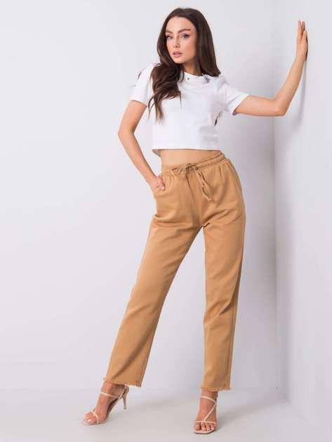 Ciemnobeżowe spodnie z materiału Chloe