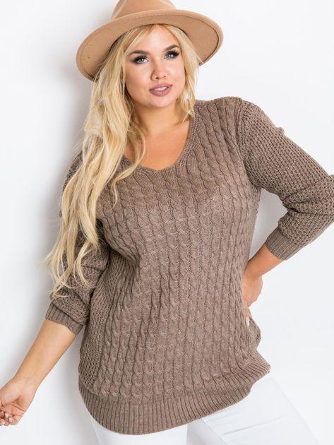 Ciemnobeżowy sweter plus size Now