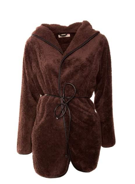 Ciemnobrązowa bluza z kapturem ze skórzanym paskiem i lamówką                                  zdj.                                  1