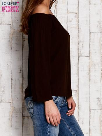 Ciemnobrązowa bluzka z hiszpańskim dekoltem                                  zdj.                                  4