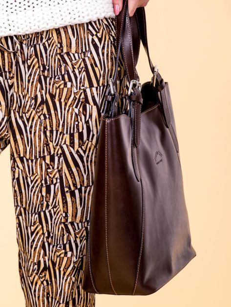 Ciemnobrązowa skórzana torba shopper bag                              zdj.                              2