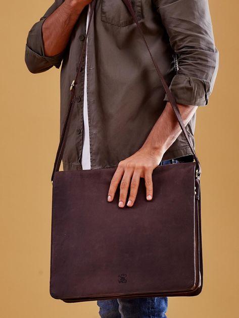 Ciemnobrązowa torba męska na ramię ze skóry naturalnej