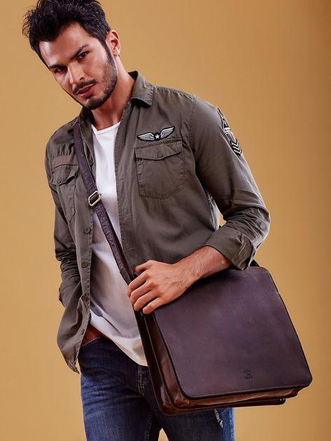 Ciemnobrązowa torba męska na ramię ze skóry naturalnej                              zdj.                              2