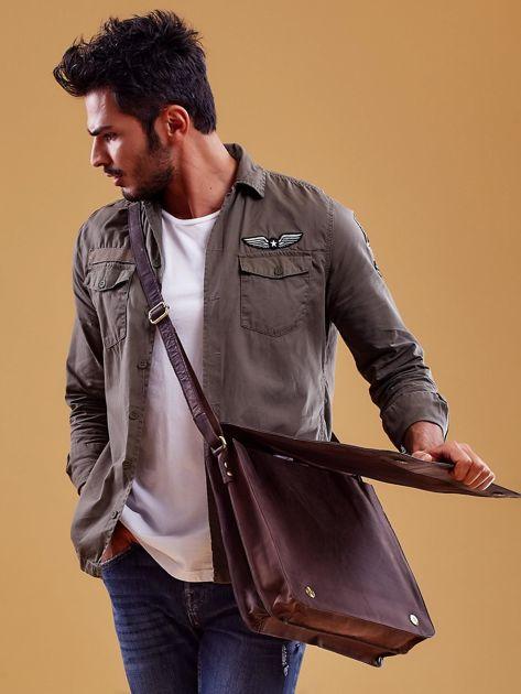 Ciemnobrązowa torba męska na ramię ze skóry naturalnej                              zdj.                              5