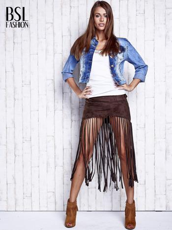 Ciemnobrązowa zamszowa spódnica z frędzlami                                  zdj.                                  4
