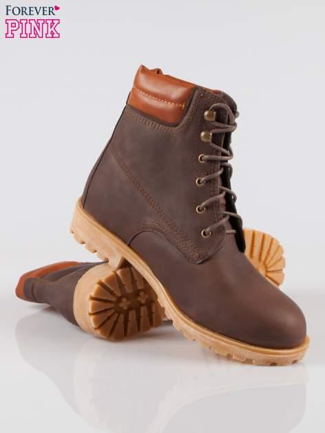 Ciemnobrązowe buty trekkingowe damskie typu traperki                                  zdj.                                  4