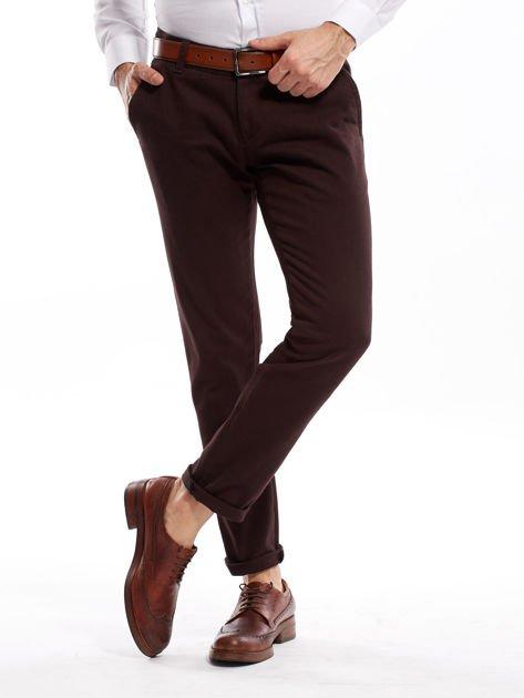 Ciemnobrązowe spodnie męskie chinos                              zdj.                              16