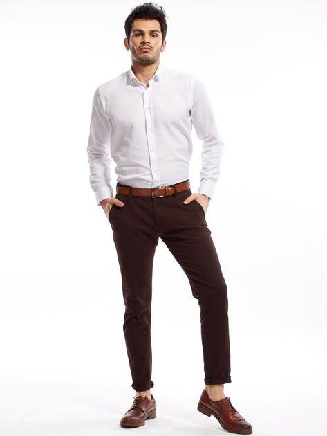 Ciemnobrązowe spodnie męskie chinos                              zdj.                              11