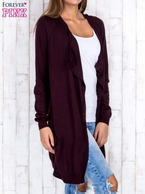 Ciemnobrązowy długi niezapinany sweter z kieszeniami                                  zdj.                                  3