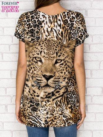 Ciemnobrązowy t-shirt z nadrukiem pantery z dżetami                                  zdj.                                  2