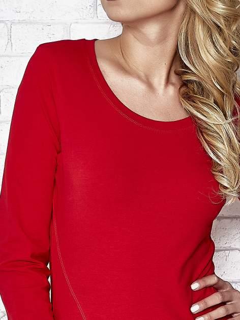 Ciemnoczerwona bluzka sportowa z dekoltem U                                  zdj.                                  5