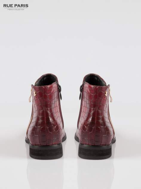Ciemnoczerwone botki ze złotym zamkiem i tyłem z efektem skóry krokodyla                                  zdj.                                  3