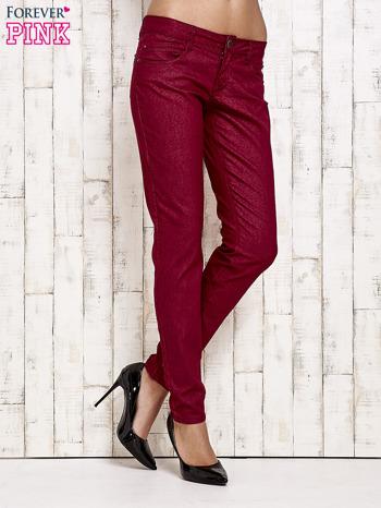 Ciemnoczerwone spodnie rurki w jodełkę                                  zdj.                                  1