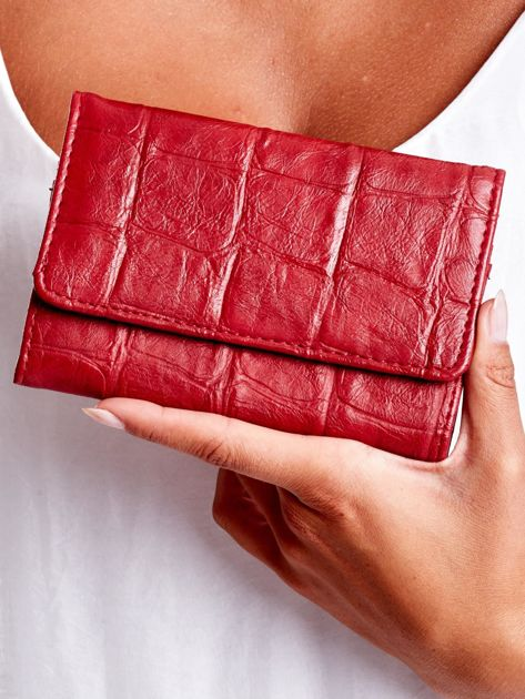 Ciemnoczerwony portfel z tłoczonym motywem animal skin