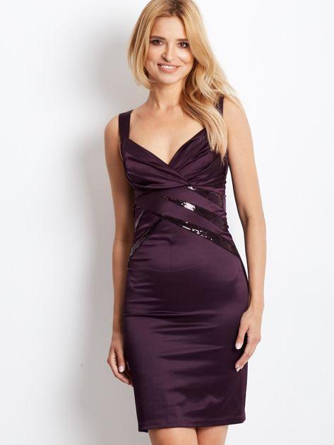 Ciemnofioletowa sukienka z cekinowymi wstawkami                              zdj.                              1