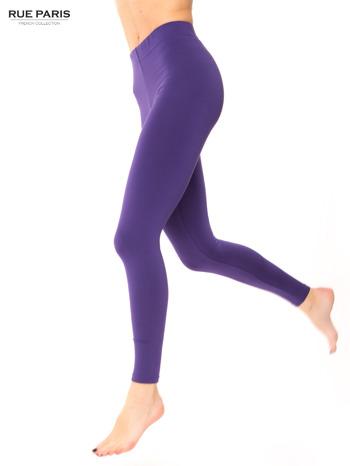 Ciemnofioletowe legginsy bawełniane z gumką w pasie                                  zdj.                                  1
