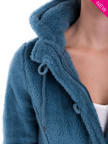 Ciemnoniebieska bluza futerkowa z kapturem i rękawami z otworem na kciuk                                  zdj.                                  6