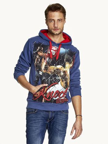 Ciemnoniebieska bluza męska z bokserskim nadrukiem                              zdj.                              1
