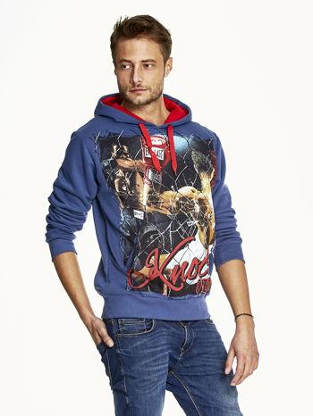 Ciemnoniebieska bluza męska z bokserskim nadrukiem                              zdj.                              3