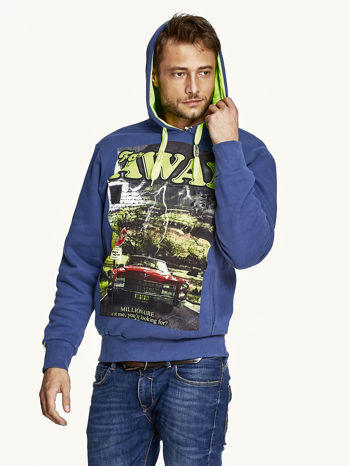 Ciemnoniebieska bluza męska z kapturem z napisem FAR AWAY                                  zdj.                                  5