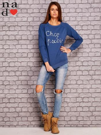 Ciemnoniebieska bluza z napisem CHCĘ PSOCIĆ                                  zdj.                                  4