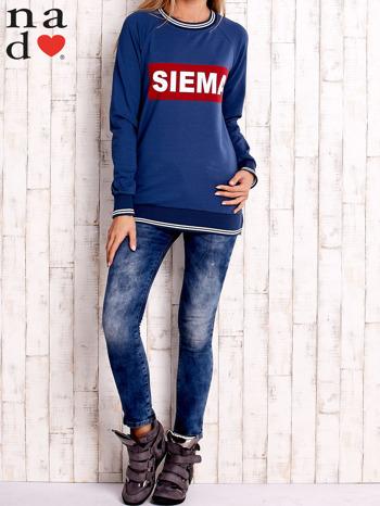 Ciemnoniebieska bluza z napisem SIEMA                                  zdj.                                  2
