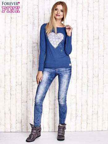 Ciemnoniebieska bluzka z materiałową wstawką                                  zdj.                                  2
