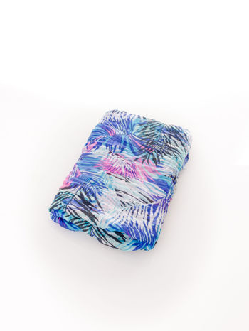 Ciemnoniebieska chusta we wzór palm                                  zdj.                                  3