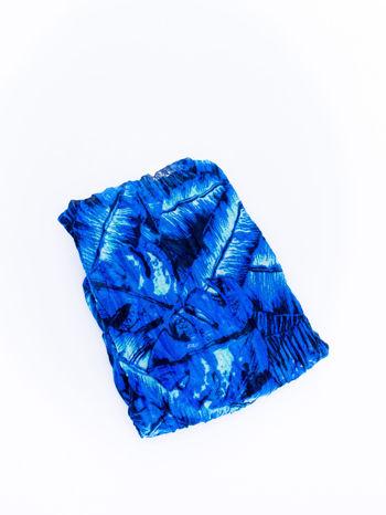 Ciemnoniebieska chusta z palmowym motywem                                   zdj.                                  3