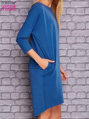 Ciemnoniebieska gładka sukienka oversize                                  zdj.                                  3