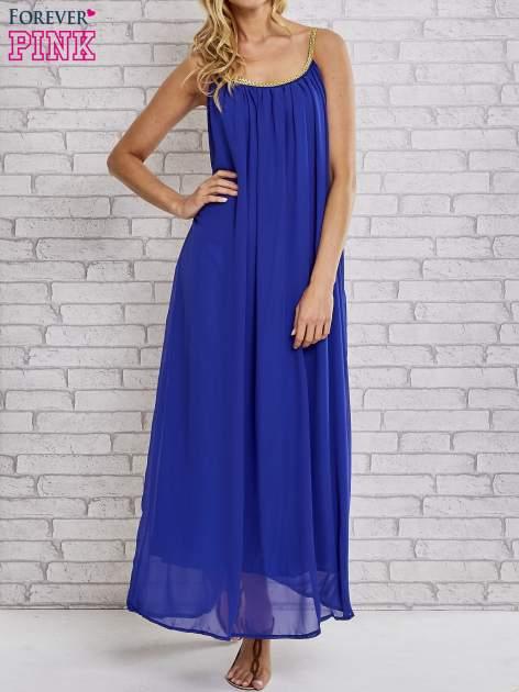 Ciemnoniebieska grecka sukienka maxi ze złotym paskiem                                  zdj.                                  1