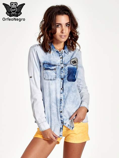 Ciemnoniebieska jeansowa koszula z naszywkami                                  zdj.                                  1