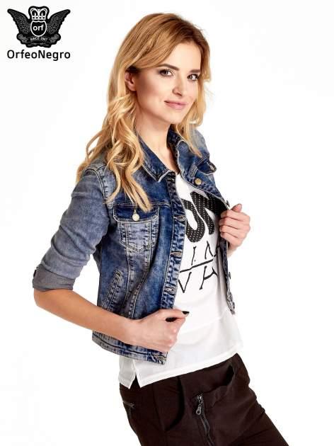 Ciemnoniebieska klasyczna kurtka jeansowa damska                                  zdj.                                  7