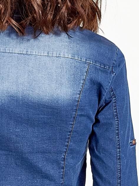 Ciemnoniebieska koszula jeansowa z cieniowaniem                                  zdj.                                  6