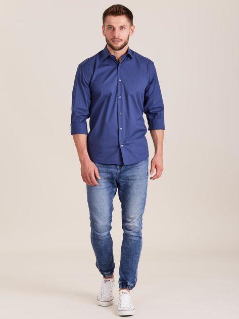 Ciemnoniebieska koszula męska regular                              zdj.                              4