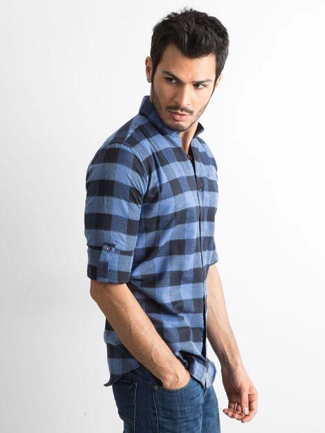 Ciemnoniebieska koszula męska slim fit w kratę                              zdj.                              3