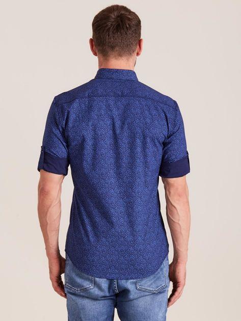 Ciemnoniebieska koszula męska we wzory                              zdj.                              2