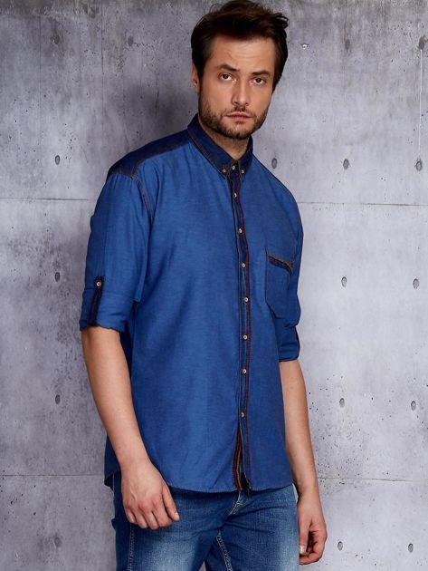 Ciemnoniebieska koszula męska z denimową listwą PLUS SIZE                              zdj.                              5