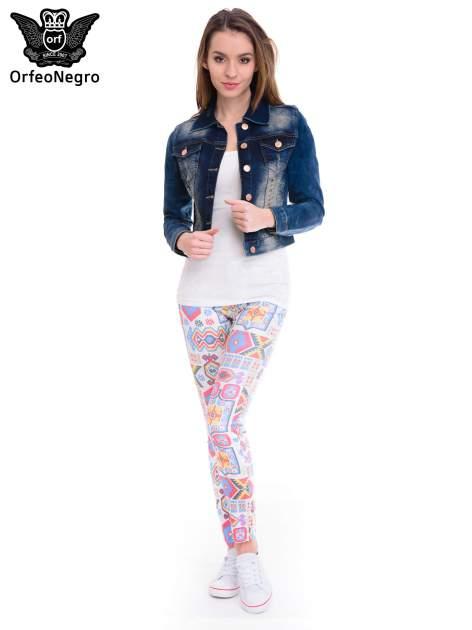 Ciemnoniebieska kurtka jeansowa damska z cieniowaniem i poszarpaniem                                  zdj.                                  2
