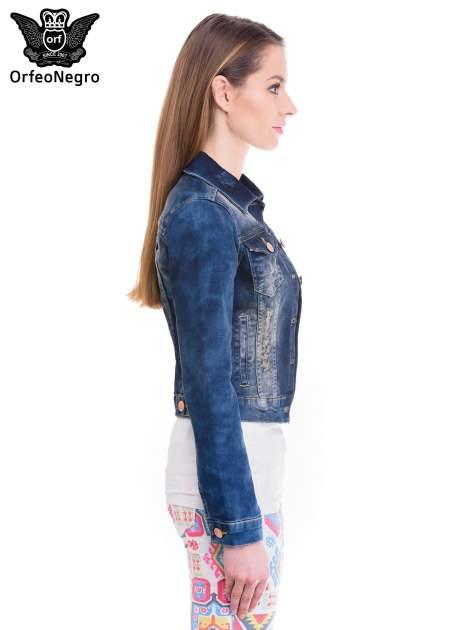 Ciemnoniebieska kurtka jeansowa damska z cieniowaniem i poszarpaniem                                  zdj.                                  3