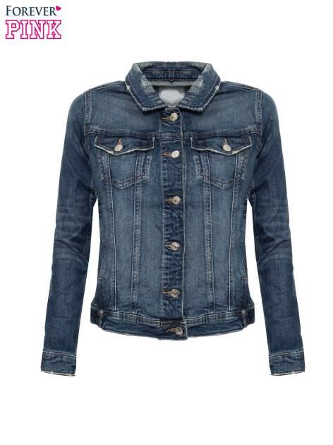 Ciemnoniebieska kurtka jeansowa z efektem przetarcia                                  zdj.                                  4