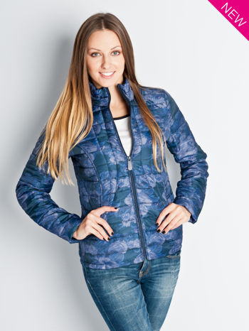 Ciemnoniebieska kurtka puchowa z motywem kwiatowym                                  zdj.                                  1