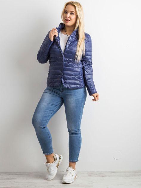 Ciemnoniebieska kurtka z pikowaniem PLUS SIZE                              zdj.                              4